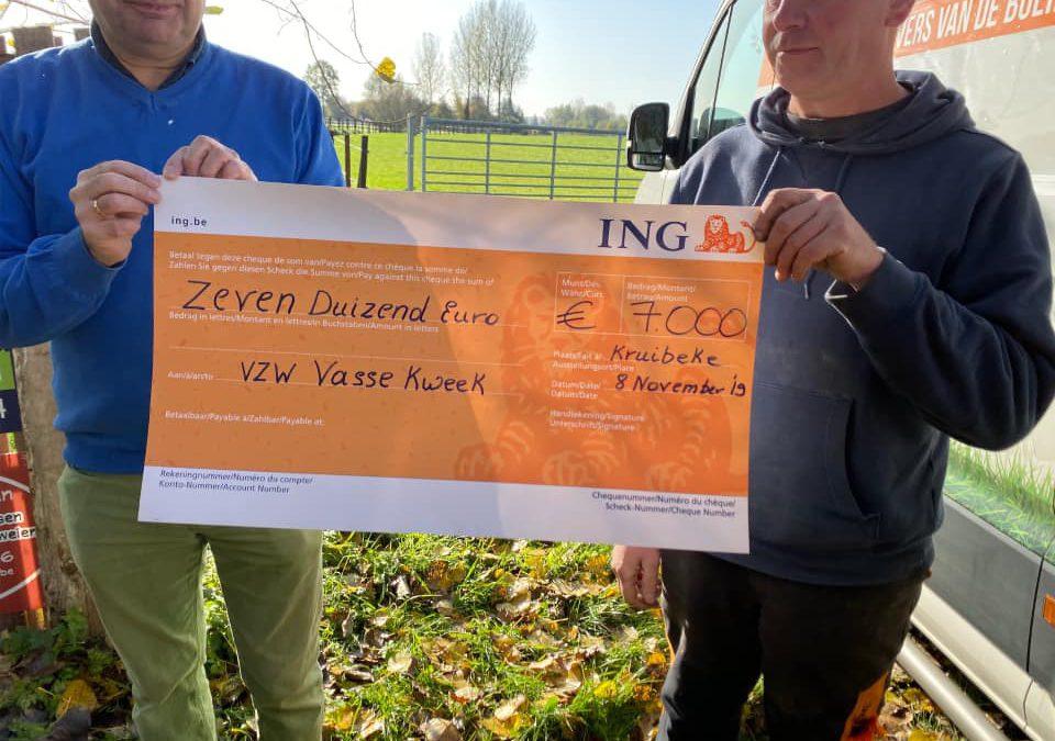 Schenking van 7.000 EUR aan Vasse Kweek!